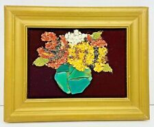 Gold Tone Framed Vintage Colored Glass ART Flower Bouquet On Velvet Picture 6.5""