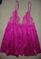 Victorias Secret Sexy Pink Satin & Lace fly away babydoll lingerie nighty Size L