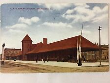1914 C&A Railroad Station, Springfield, IL postcard (pub. by V.O. Hammon)