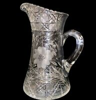 "Antique American Brilliant Period Floral & Cane Cut Glass Pitcher 10.3""H 8""L"