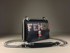 NEW FENDI 2350$ Kan I Black Embellished Studded Logo Leather Bag Handbag Purse