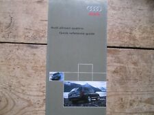 AUDI ALL ROAD QUATTRO QUICK REFERENCE GUIDE