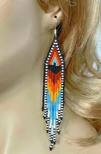 Handmade Ethnic beaded Native style Multi-Color Sun Color Hook Earrings E61/3
