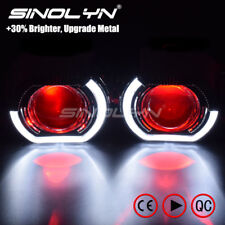 LED Running Lights Angel Devil Eyes HID Bi xenon Lens Headlights H4 H7 Retrofit