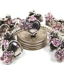 Pink Flower Crystal Heart Screw Threaded Stop Bead for European Charm Bracelet