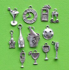 Happy Hour Charm Collection 12 TibetanSilverTone Drink Charms FREE Shipping E126