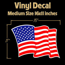 """American Flag USA 16x11"""" Decal Sticker United States of America Waving Flying"""