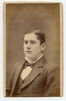 Young Man with Tie Vintage CDV Photo by Kelly , Cincinnati Ohio