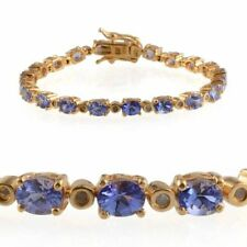 AA Tanzanite, Diamond Bracelet in 14K Gold O/lay S/Silver (Size 8) 7.400 cts