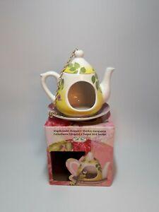 Teapot bird feeder Ceramic Yellow Floral Design
