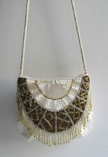 Nina Ricci Paris Glamorous Vintage White & Gold Bead Fringe Evening Purse In EUC