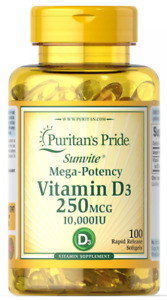 VITAMIN D3 10000 IU ⭐ PURITAN'S PRIDE ⭐ TRUSTED USA SELLER ⭐ FAST SHIPPING