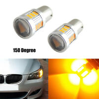 2Pcs Yellow Amber 18 SMD LED BAU15S 7507 LED Bulb For Car Turn Signal Light Lamp