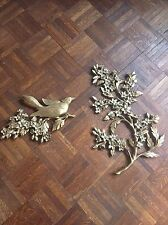 Vintage 1967 Pair of Authentic Syroco Bird & Dogwood Floral Wall Plaques