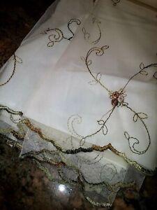 Victoria Classics Embroidered Shower Curtain FLORA BUNDA ~ Burgundy Ivory