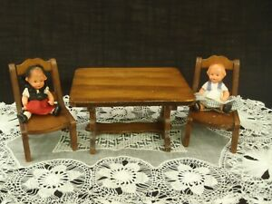Vintage 1960's Wood Dining Table & 2 Chairs Handcrafted Wood Miniature Dollhouse