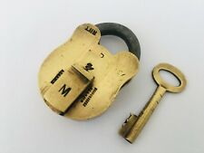Padlock Old Vintage Solid Brass Lock With Key Strong Collectible Aligarh