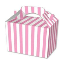 10 Pink Stripe Party Boxes - Food Loot Lunch Cardboard Gift Stripey Popcorn