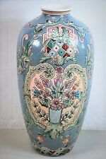 """Macau Hand-Painted Porcelain 18"""" Tall Vase With Floral Designs"""