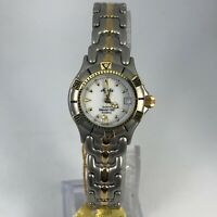 Read Ayers Womens Two Tone Sea Pearl 600 Stainless Steel Quartz Bracelet Watch