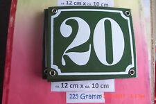 Hausnummer Nr.20 weiße Zahl auf gras - grünem Hintergrund 12 cm x 10 cm Emaille