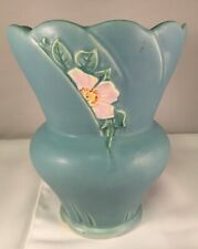 Weller Pottery Blue Vase Decorated with Half Hidden White Flower After 1935