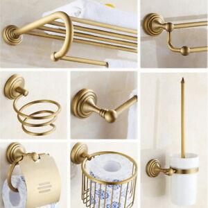 Antique Brass Bathroom Hardware Set Bath Accessories Towel Bar Ring Paper Holder