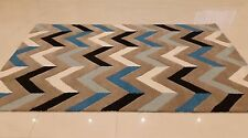 INDIAN HAND TUFTED,GEOMETRIC 100% WOOL RUG,2.44 x 1.52M,BEIGE,BLUE,BLACK,IVORY