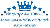 Personalised Name Prince/Crown Wall Art, Boys/Kids Bedroom,Custom Vinyl Sticker