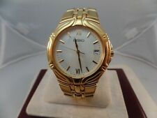 Seiko Vintage Mens Gold Tone Watch 7N42-6C78  Stainless Steel  new battery