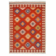 Hand Woven Red Wool Rug Turkish Kilim Dhurrie Afghan Oriental Area Rug 5'X8' ft