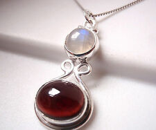 Garnet and Rainbow Moonstone Necklace 925 Sterling Silver Oval Round New