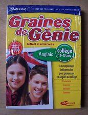 logiciel éducatif PC GRAINES DE GENIE ANGLAIS COLLEGE 11 - 15 ans - NEUF
