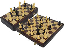 "Victorian Staunton Ebony Chess Pieces 3.5"" + Rosewood Folding Chess Board 16"""