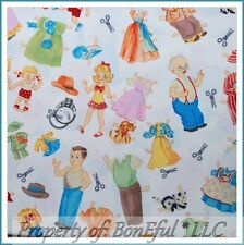 BonEful FABRIC FQ Cotton Quilt Family Tree VTG US Paper Doll Baby Child Boutique