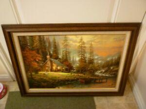 "Thomas Kinkade A Peaceful Retreat Canvas Painting 18"" X 27"", Hand Highlighted"