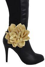 Fun Women Gold Faux Leather Boot Bracelet Anklet Shoe Flower Charm Jewelry Wrap