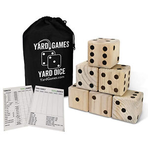 Yard Games Giant Outdoor 3.5 Inch Wooden Dice Set with Scorecards & Case