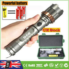 Tactical Flashlight T6 LED Zoom Chargeable Light Torch 8000LM + Powerful Battery
