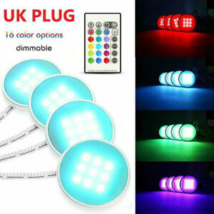 4X RGB LED Under Cabinet Light Kit Multi Color Puck Lamp Counter Kitchen Display