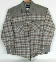Wrangler Mens 2XL Gray Plaid Pearl Snap Button Front Shirt Western Retro L/S