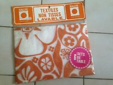 lot de 6 sets de table tissu lavable neufs de stock  an 70's  vintage RETRO POP