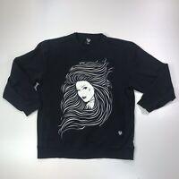 Fatal Clothing Mens Sweatshirt Tattooed Woman Black Size XL Front Pockets #562