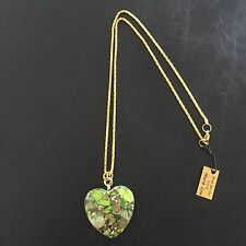 "Gemstone Heart Necklace~Green Succor~Greek Jasper~22"" Gold tone~ONE of a KIND!!"