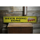 Beer Pong Zone Party Vintage Distressed Sign, Personalized Wood Sign