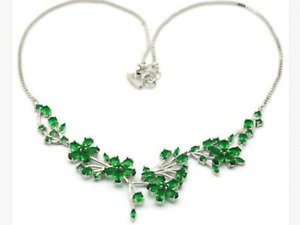 Necklace  Green Emerald  19,5 - 20,0 in. Sterling Silver Woman's  New