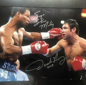 Oscar De La Hoya Vs Shane Mosley Duel Signed Auto 16 X 20 Photo. Fanatics COA
