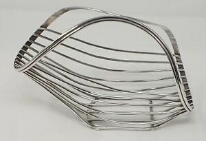 Stylish Vintage Silver Plated Wire Basket Wine Bottle Holder Pourer.