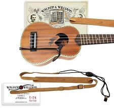 Walker & Williams U-74 Soft Tan Leather Adjustable Uke Strap for Soprano Ukes