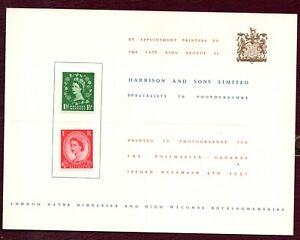 1952 Wilding Harrison & Sons Presentation Card. Superb condition.